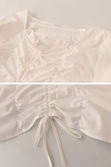 Gorgeous Girls Solid Color Ruched Drawstring Ruffle Trim Button Detail V Neck Long Puff Sleeve Slim Fit Crop Shirt in White