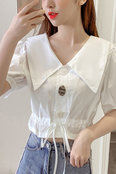 Korean Girls Puff Sleeve Point Collar Button down Drawstring Solid Color Fit Cropped Shirt