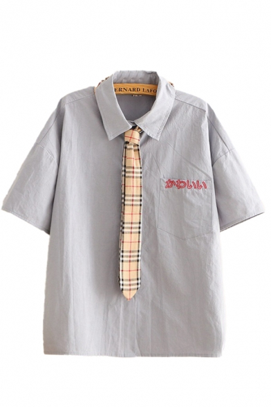 Leisure Womens Japanese Letter Embroidered Chest Pocket Short Sleeve Point Collar Button down Plaid Tie Relaxed Shirt