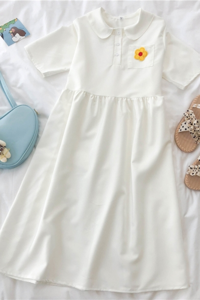Lovely Girl Floral Embroidery Pocket Pleated Peter Pan Collar Short Sleeve Midi Polo Dress in White