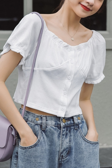 Lovely Ladies Plain Stringy Selvedge Puff Sleeve Round Neck Ruched Button down Regular Fit Crop Tee Top
