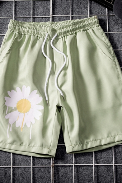 Mens Cozy Shorts Daisy Pattern Drawstring Pocket Straight Fit over the Knee Length Lounge Shorts