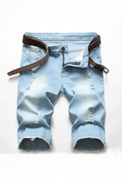 Mens Unique Zip Fly Ripped Pocket Frayed Edges Longline Fitted Denim Shorts with Washing Effect
