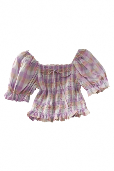 Novelty Womens Plaid Pleated Tie Ruffle Trim Short Off the Shoulder Puff Sleeve Slim Fit Crop Top
