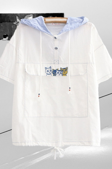 Preppy Looks Cartoon Cat Embroidered Contrast Stitch Short Sleeve Striped Hooded Drawstring Button Detail Flap Pocket Relaxed Shirt Top in White