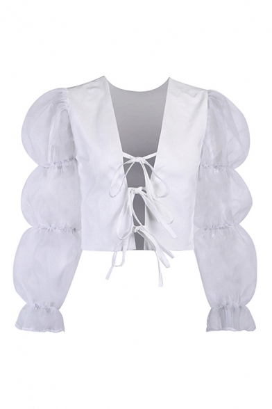 Pretty Ladies Sheer Mesh Patched Puff Sleeves Deep V-neck Bow Tied Front Plain Fitted Blouse Top