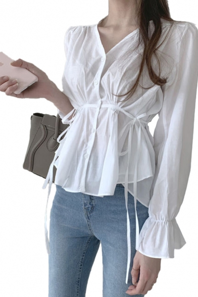Sexy Ladies White Bow Tied Waist Bell Long Sleeve V-neck Button down Regular Fit Shirt