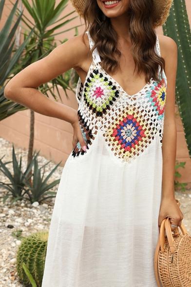 Tribal Womens Crochet V-neck Spaghetti Straps Short A-line Slip Dress in White