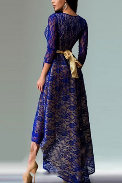 Unique Lace 3/4 Sleeve Round Neck Tied Waist High Low Long Pleated A-line Dress for Women