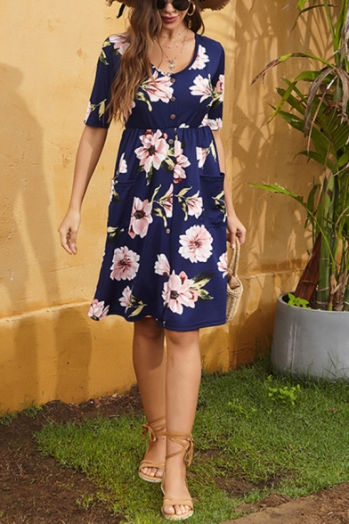Allover Geo Floral Print Short Sleeve Scoop Neck Fashion Midi A-line Dress for Ladies
