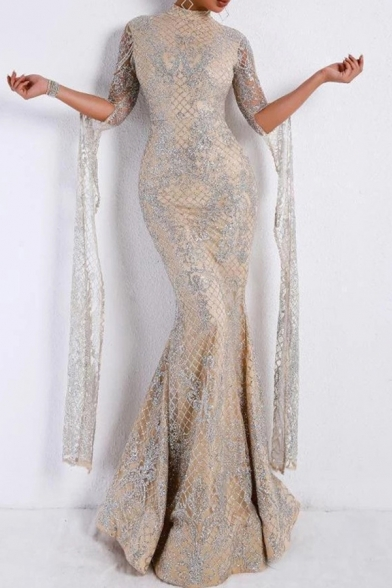 Amazing Womens Embossing Sheer Lace Long Sleeve Mock Neck Maxi Fishtail Dressing Gown in Gray