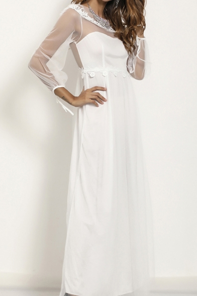 Amazing Womens Sheer Mesh Blouson Sleeve Round Neck Maxi Pleated A-line Dress in White