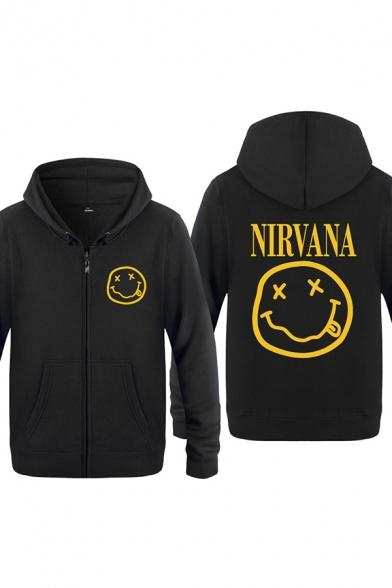 Cozy Mens Emoji Pattern Letter Nirvana Zip up Pocket Drawstring Long Sleeve Regular Fit Graphic Hooded Sweatshirt