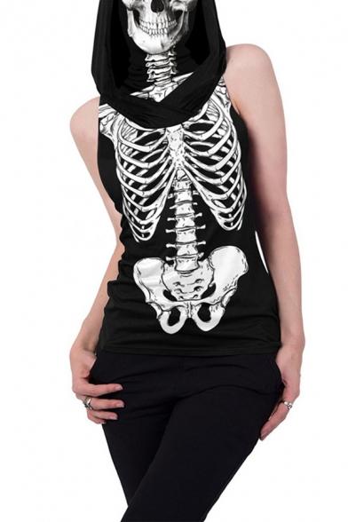 Dark Womens Skeleton Printed Sleeveless Hooded Long Regular Fit Tee Top in Black