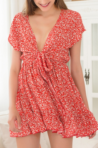 Fancy Womens Ditsy Floral Print Short Sleeve Deep V-neck Bow Tied Ruffled Mini Pleated A-line Dress in Red