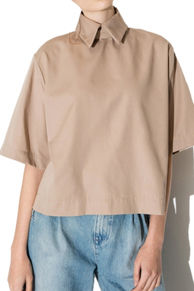 Fashionable Girls Khaki 3/4 Sleeve Point Collar Loose Fit Shirt Top