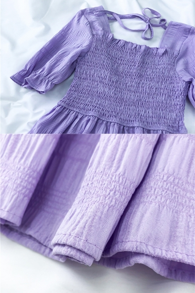 Hot Popular Girls Solid Color Pleated Tiered Tie Back Ruffle Trim Square Neck Short Puff Sleeve Midi A Line Dress