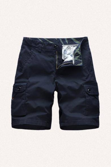 Mens Unique Shorts Striped Pattern Zipper Flap Pockets Button Detail Knee Length Straight Fit Chino Shorts