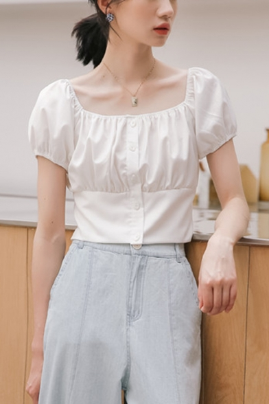 Novelty Girls Solid Color Pleated Button Down Square Neck Short Puff Sleeve Regular Fit Shirt