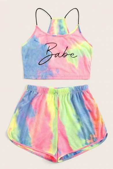 Pretty Girls Tie Dye Letter Babe Printed Slim Fit Cropped Cami Top & Relaxed Fit Shorts Set