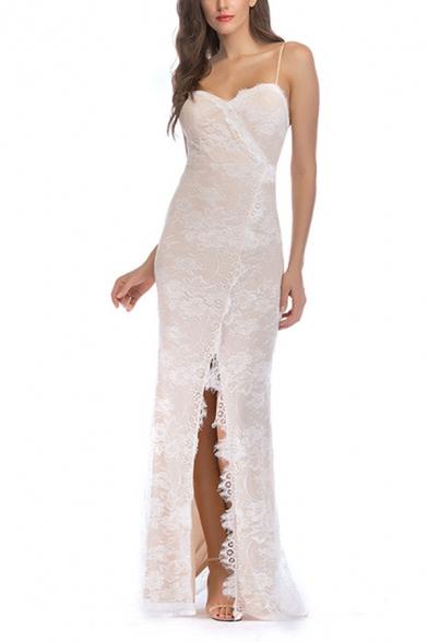 Sexy Womens Applique Spaghetti Straps Slit Front Maxi Fishtail Cami Dress in White