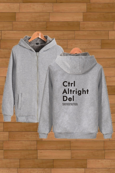 Simple Mens Sherpa Liner Letter Ctrl Altright Del Printed Relaxed Hoodie