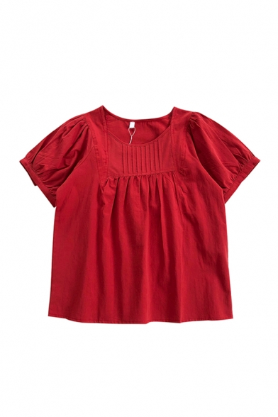 Stylish Womens Solid Color Pleated Crew Neck Short Puff Sleeve Loose Fit Tunic Shirt