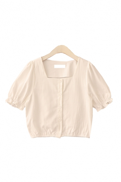 Summer Womens Solid Color Button Down Ruffle Trim Square Neck Short Puff Sleeve Regular Fit Crop Blouse
