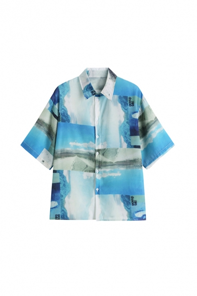 Vintage Ladies Letter Grow Up Wild Landscape Printed Button Down Collar Short Sleeve Regular Fit Graphic Shirt in Blue