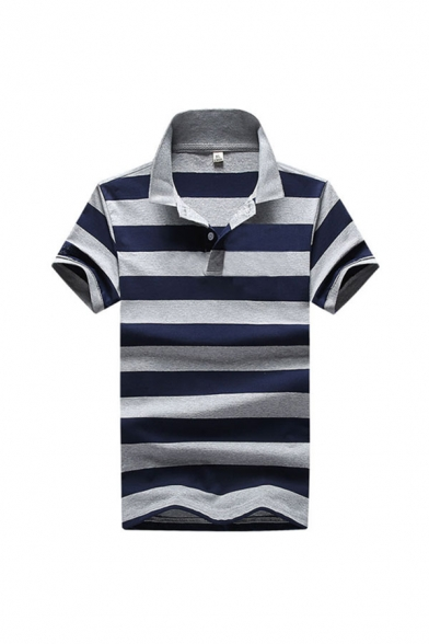 Basic Polo Shirt Striped Printed Button Detail Spread Collar Regular Fitted Short Sleeve Polo Shirt for Men
