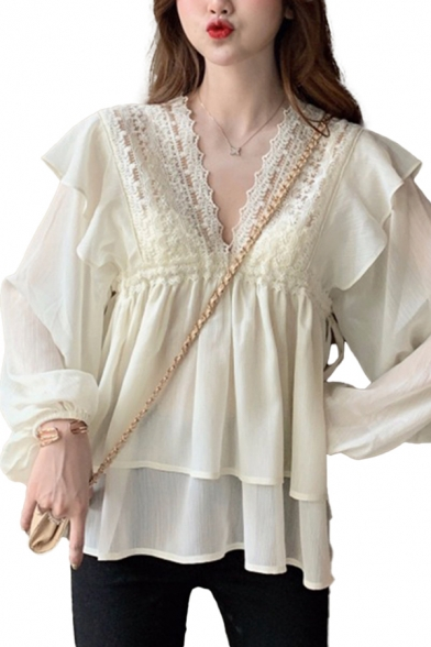Chic Womens Lace Patched Ruffle-trimmed See-through Chiffon Long Sleeve V-neck Tiered Relaxed Blouse in Apricot