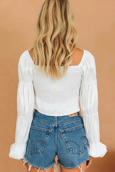 Chic Womens Pleated Long Sleeve Sweetheart Neck Button up Slim Fit Cropped Blouse Top in White