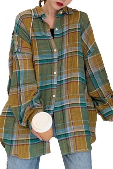 Cool Plaid Pattern Long Sleeve Spread Collar Button down Long Oversize Shirt in Green