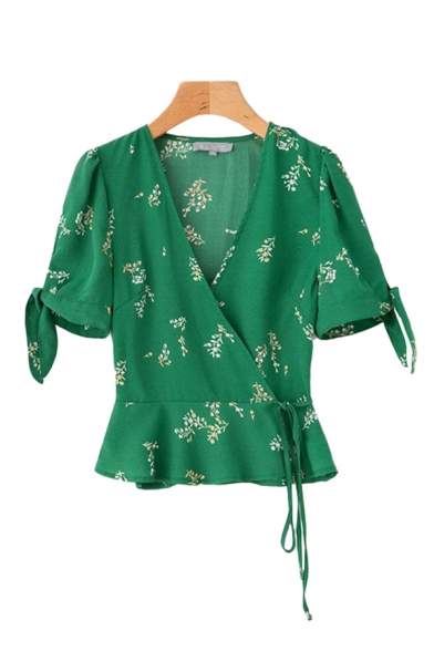 Fashion Womens Allover Floral Print Bow Tied Short Sleeve Surplice Neck Ruffled Regular Fit Wrap Shirt in Green