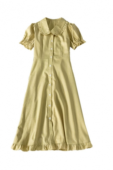 Glamorous Womens Solid Color Button Down Ruffle Trim Tie Back Short Puff Sleeve Peter Pan Collar Midi A Line Dress