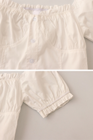 Hot Popular Girls Solid Color Pleated Button Down Ruffle Trim Square Neck Short Puff Sleeve Slim Fit Crop Blouse in White