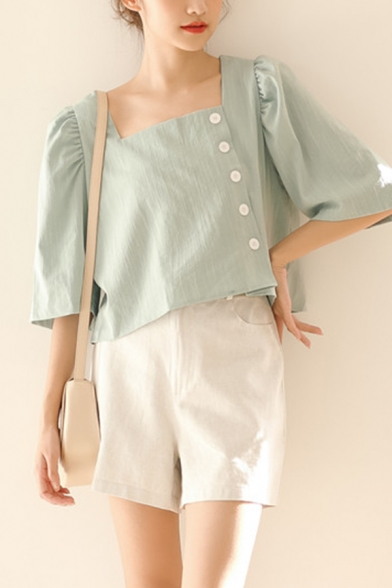 Popular Womens Solid Color Side Button Down Square Neck Half Puff Sleeve Regular Fit Cropped Blouse Top