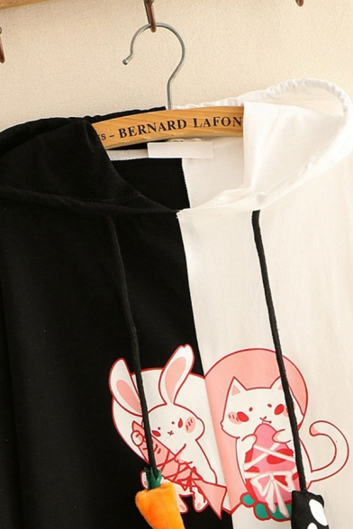 Preppy Girls Rabbit Cat Printed Colorblock Short Sleeve Drawstring Relaxed Hoodie
