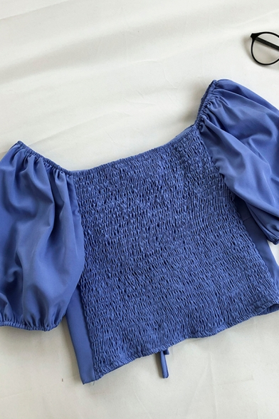 Sexy Girls Solid Color Pleated Lace Up Scoop Neck Short Puff Sleeve Slim Fit Crop Blouse