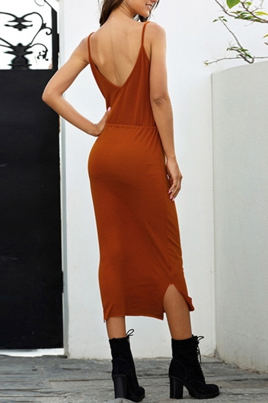 Stylish Ladies Solid Color Spaghetti Straps Drawstring Waist Slit Midi Sheath Slip Dress