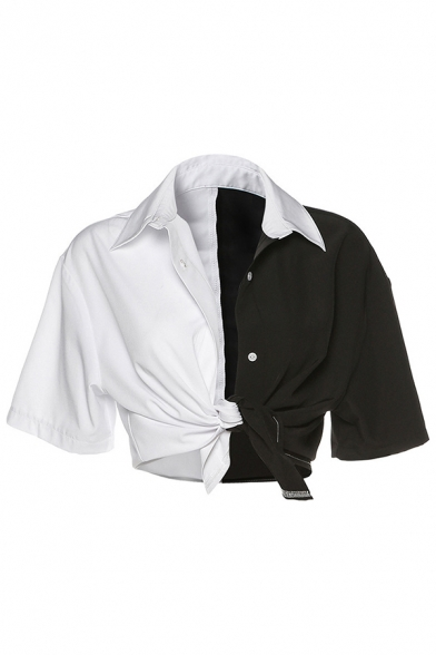 Stylish Womens Colorblock Short Sleeve Point Collar Button up Tied Regular Fit Shirt in Black and White