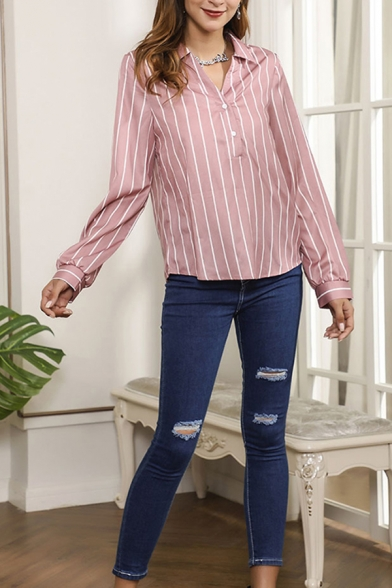 Trendy Stripe Pattern Long Sleeve Spread Collar Button up Loose Fit Shirt Top in Pink