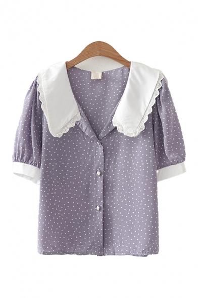 Trendy Womens Lace Trim Patchwork Polka Dot Button Up Lapel Collar Short Sleeve Regular Fitted Shirt