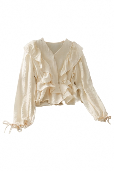 Boutique Solid Color Button Down Ruffle Cuff Tiered Pleated Drawstring V Neck Long Puff Sleeve Regular Fit Crop Shirt for Ladies
