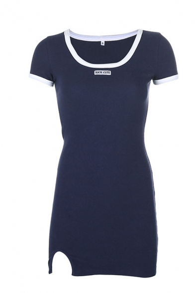 Casual Girls Letter Such Cute Embroidered Contrasted Short Sleeve Scoop Neck Slit Front Short Fitted T Shirt Dress in Blue