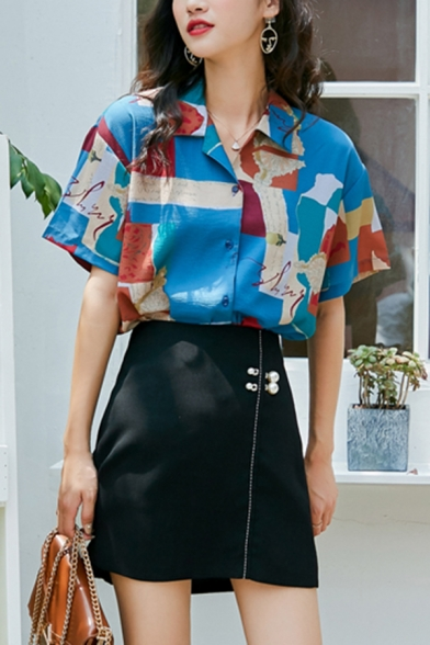 Cool Girls Color Block Letter Printed Button Down Lapel Collar Short Sleeve Regular Fit Graphic Shirt in Blue