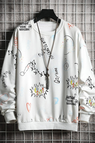 Cool Mens Heart Spaceship Letter Nice to Meet You Printed Pullover Long Sleeve Round Neck Fitted Sweatshirt