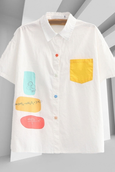 Lovely Girls Formular Printed Contrasted Panel Pocket Colorful Button up Short Sleeve Point Collar Loose Shirt