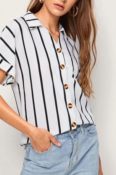 Stylish Womens Stripe Printed Roll up Sleeve Spread Collar Button down Loose Shirt in White