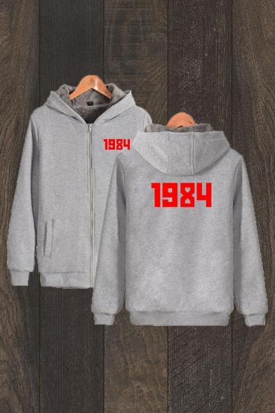 Casual Mens Number 1984 Printed Long Sleeve Zipper Front Loose Fit Sherpa Liner Hoodie